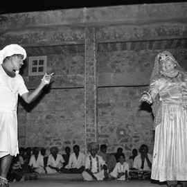 Marwari Khyal artists Ugamraj and Pukhraj performing at Lok Utsav, Tilonia